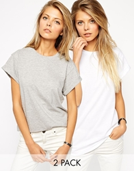 Asos The Easy T Shirt 2 Pack Save 20 Greywhite