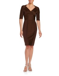 Nue By Shani Pleat Paneled Sheath Dress Chocolate