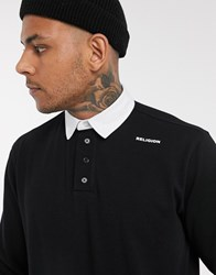 Religion Long Sleeve Logo Polo With Back Patch In Black