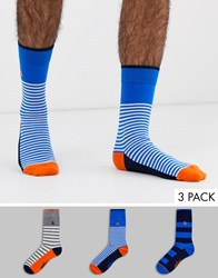 Penguin 3 Pack Socks In Basic Stripe Multi