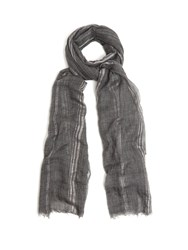 Brunello Cucinelli Striped Cashmere Blend Scarf Grey