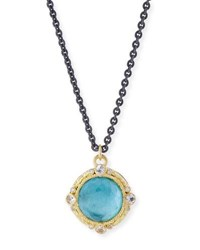 Armenta Old World Blackened Sterling Silver Round Pendant Necklace With Diamonds Emerald