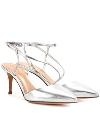 Gianvito Rossi Carlyle Mid Leather Slingback Pumps Silver