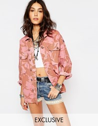 Reclaimed Vintage Oversized Military Jacket In Pink Camo Pink