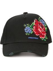 Dsquared2 Rose Embroidered Cap Black