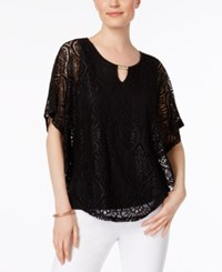Jm Collection Lace Keyhole Poncho Only At Macy's Deep Black