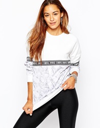 Criminal Damage Crew Neck Sweatshirt With All Over Print And Tape Detail White