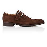 Harris Men's Suede Monk Strap Shoes Dark Brown