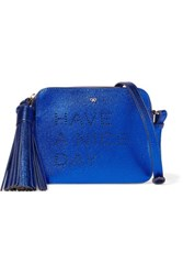 Anya Hindmarch Perforated Metallic Leather Shoulder Bag Bright Blue