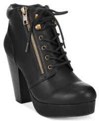Material Girl Rheta Lace Up Platform Booties Only At Macy's Women's Shoes Black