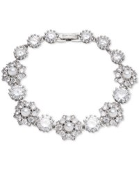 Marchesa Silver Tone Crystal And Imitation Pearl Flex Bracelet Rhodium