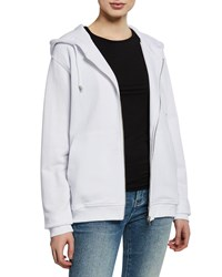 Notify Jeans Zip Front Cotton Hooded Jacket White