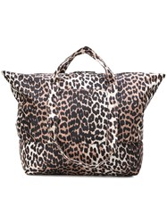 Ganni Leopard Print Tote Bag Nude And Neutrals
