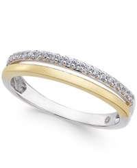 Macy's Diamond Two Tone Band 1 8 Ct. T.W. In 14K White And Rose Gold Or 14K White And Yellow Gold White Gold Yellow Gold