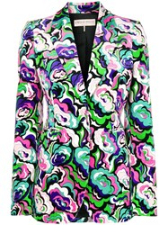 Emilio Pucci Colour Block Floral Blazer Pink And Purple
