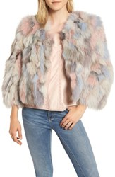 Jocelyn Genuine Fox Fur Bolero Nude Multi