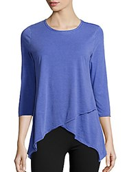 Calvin Klein Asymmetric Hem Cotton Blend Top Black