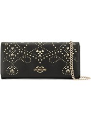 Love Moschino Galvanic Leather Clutch Black