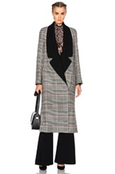 Lanvin Plaid Wool Coat In Gray Checkered And Plaid Gray Checkered And Plaid
