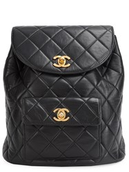Chanel Vintage Mini Cc Quilted Backpack Black