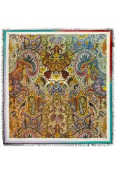 Etro Bombay Fringed Printed Wool And Silk Blend Twill Scarf Beige