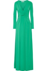 Halston Heritage Draped Stretch Jersey Gown Jade