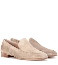 Gianvito Rossi Marcel Suede Loafers Beige
