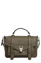 Proenza Schouler Medium Ps1 Grainy Leather Satchel Green Cypress