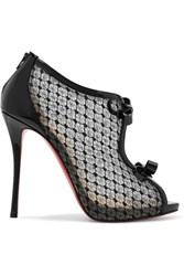 Christian Louboutin Empiralta 120 Bow Embellished Embroidered Mesh Sandals Black