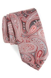 Boss Men's Paisley Silk Tie Red