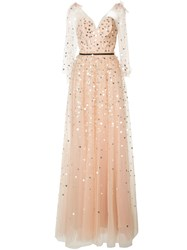 Monique Lhuillier Heart Sequins Dress Women Silk Nylon 8 Nude Neutrals