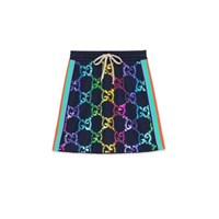Gucci Technical Jersey Skirt With Gg Sequins Navy