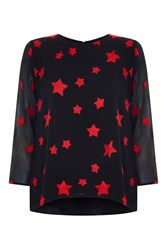 Nougat London Maple Star Embroidered Blouse Black And Red Black And Red