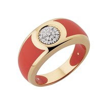 Andre Benitah Creations Paris 280Resin Gold And Diamond Circle Ring Coral