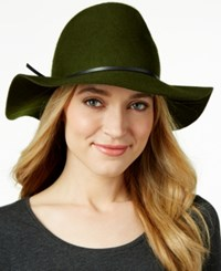 Nine West Pinched Crown Floppy Felt Hat Olive