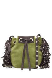 Vanessa Bruno Leather Suede Small Fringed Bucket Bag Green
