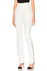 David Koma Loops And Metal Balls Hem Embroidered Trousers In White