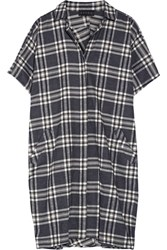 Hatch The Slouch Plaid Cotton Flannel Dress Black
