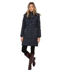 Sam Edelman Long 3 4 Down W Horizontal Quilting And Side Tab Detail Jacket Navy Women's Coat