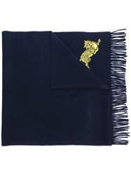 Kenzo Tiger Embroidered Scarf Blue
