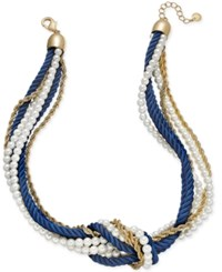 Charter Club Gold Tone Imitation Pearl And Blue Cord Knotted Necklace Only At Macy's