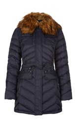 Dawn Levy Down Hooded Jacket With Drawstring Waist Blue