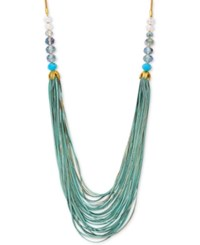 Lonna And Lilly Gold Tone Multi Strand Beaded Statement Necklace Green