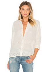 Maison Scotch Embroidered Button Up Ivory