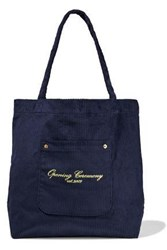 Opening Ceremony Woman Big Pocket Embroidered Corduroy Tote Navy