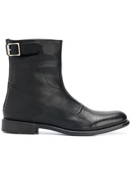 Paul Smith Buckle Detail Ankle Boots Leather Black