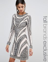 Maya Tall All Over Embellished Long Sleeve Mini Dress With Multi Colour Sequin Multi
