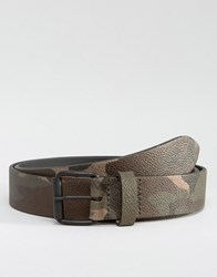 Asos Made In England Leather Belt In Camo Khaki Green