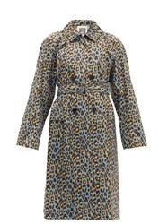 Connolly Leopard Print Cotton Trench Coat Blue Multi
