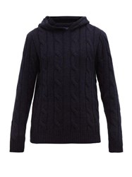 Ralph Lauren Purple Label Cable Knit Cashmere Hooded Sweater Navy